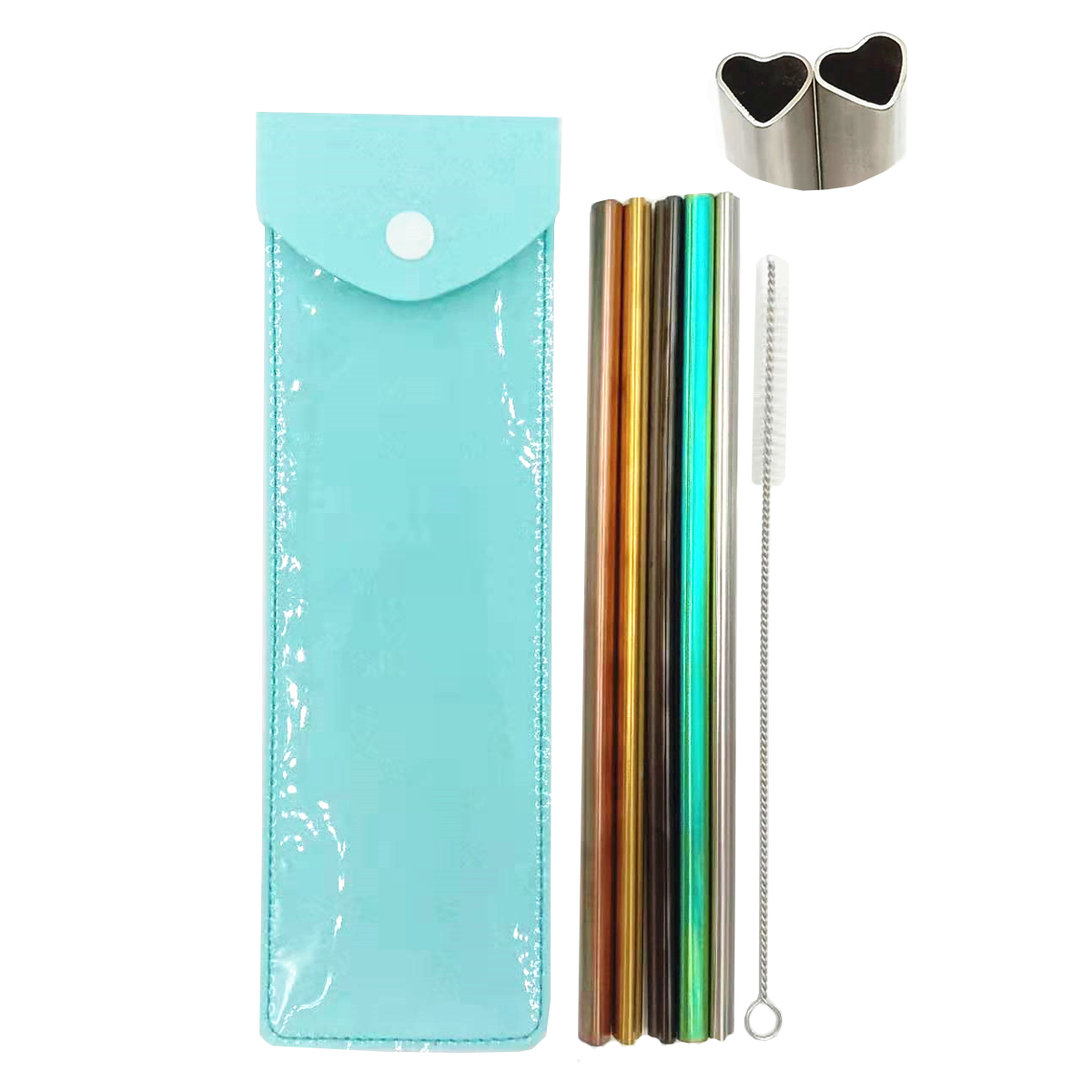 Heart Shape Stainless Steel Straw Set